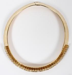 YELLOW GOLD AND DIAMOND LADY'S HERRINGBONE NECKLACE