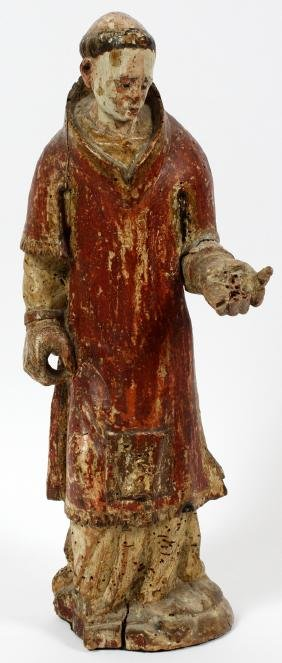 CARVED WOOD POLYCHROME SANTOS WALKING FIGURE