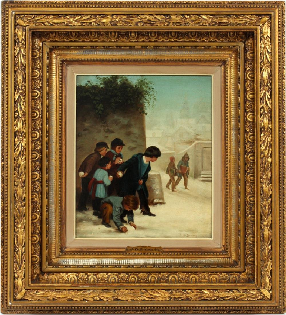 SIGNED J.G. BROWN OIL ON BOARD 19TH.C.