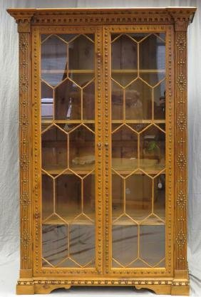 PINE WOOD BEADED TWO DOOR GLASS ARMOIRE