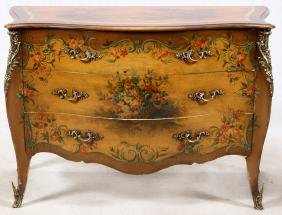 BOMBE HAND PAINTED VERNIS MARTIN COMMODE