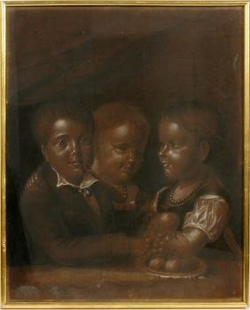 PASTEL DRAWING THOMAS KNOX AS A BOY & TWO SISTERS