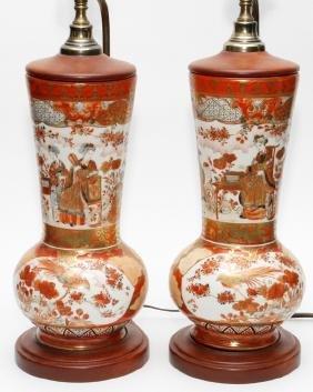 JAPANESE KUTANI PORCELAIN VASE MOUNTED AS LAMP