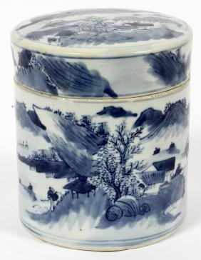 CHINESE BLUE & WHITE COVERED GINGER JAR 19TH.C.
