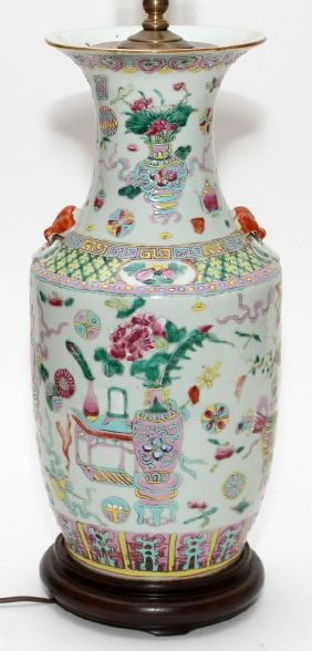 CHINESE PORCELAIN 19TH.C. VASE CONVERTED TO LAMP