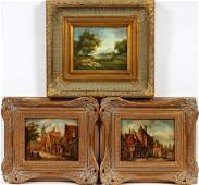 EUROPEAN CONTEMPORARY OILS ON BEVELED WOOD PANEL