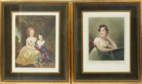 COLORED MEZZOTINT REPRINTS PAIR