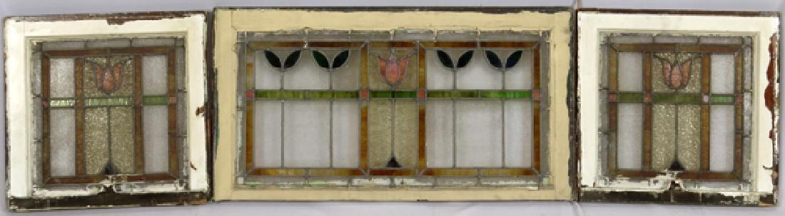 LEADED GLASS WINDOWS C 1910 LOT OF THREE 31