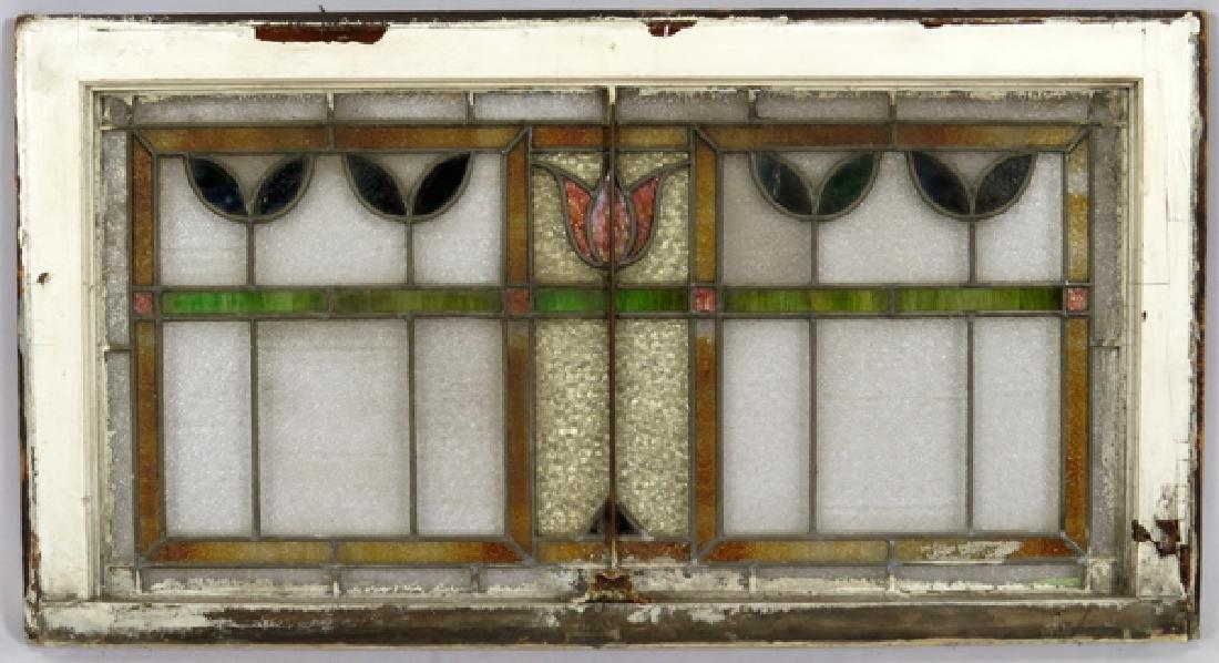 LEADED GLASS WINDOWS C 1910 LOT OF THREE 31 - 8