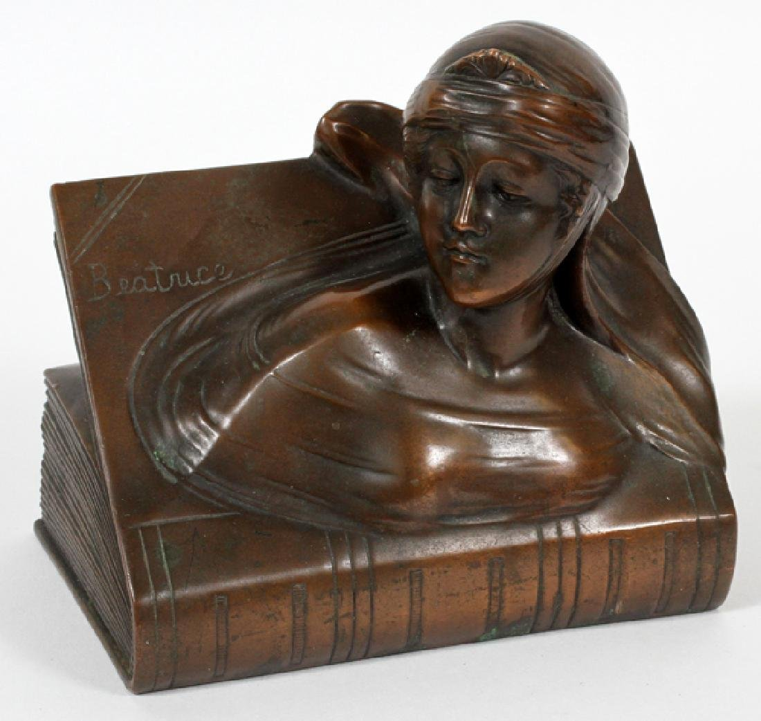 ART NOUVEAU BRONZE CLAD BOOKEND