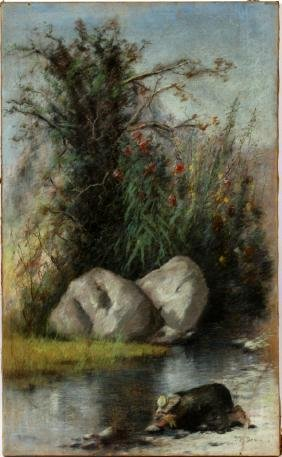 J.M. DENNIS PASTEL ON PAPER MOUNTED ON CANVAS