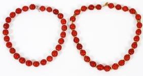 CHINESE RED CINNABAR NECKLACE W/ BRASS