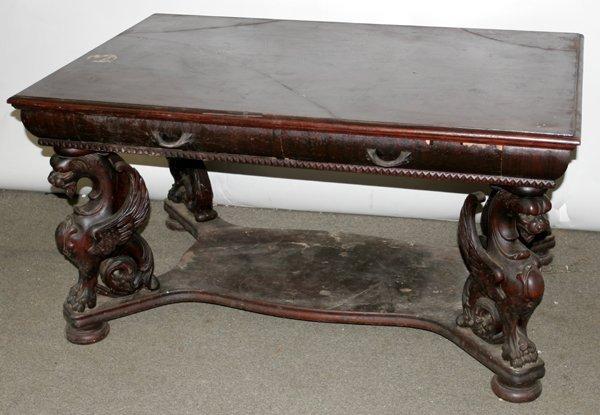 080010: CARVED MAHOGANY LIBRARY TABLE, W/ GARGOYLES