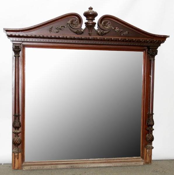 080011: FEDERAL STYLE, CARVED MAHOGANY MANTLE MIRROR