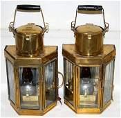 080129: ENGLISH BRASS & GLASS SHIPS LANTERNS