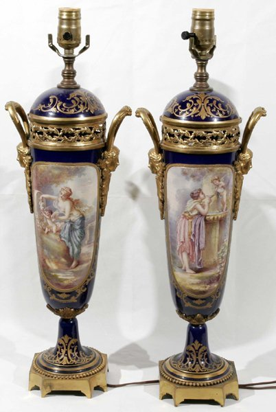 081002: FRENCH PORCELAIN URNS MOUNTED AS LAMPS