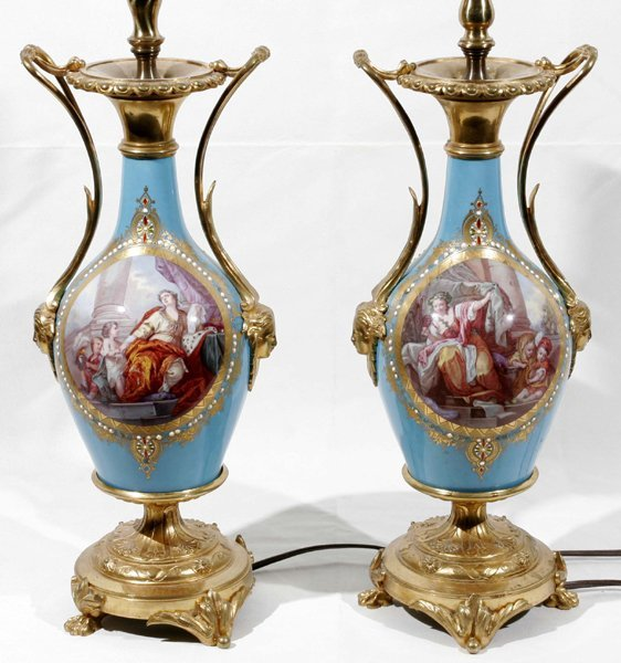 081003: FRENCH PORCELAIN URNS MOUNTED AS LAMPS