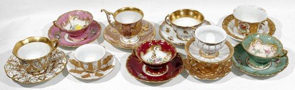 081020: MEISSEN & SEVRES PORCELAIN TEA CUPS & SAUCERS