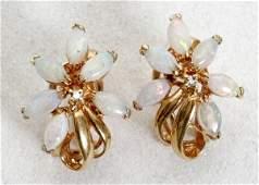 081455 GOLD OPAL  DIAMOND EARRINGS PAIR