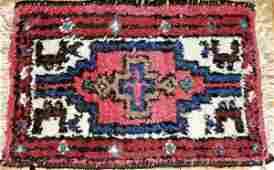 """081506: TURKISH HAND-WOVEN WOOL MAT, 15""""x22"""""""