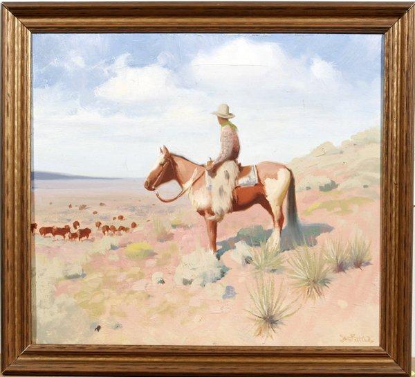 082002: GERALD CURTIS DELANO OIL ON CANVAS, THE COWBOY