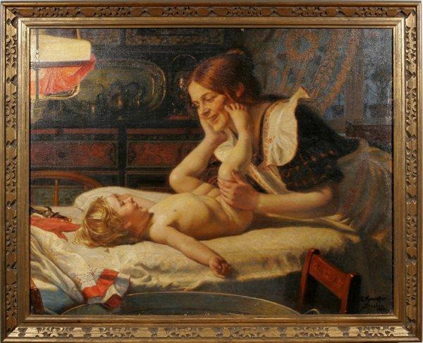 082004: EDUARD KAEMPFFER OIL ON CANVAS, MOTHER W/ BABY