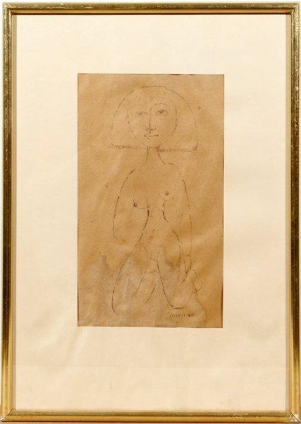 082006: SARKIS SARKISIAN INK DRAWING, EGYPTIAN FEMALE