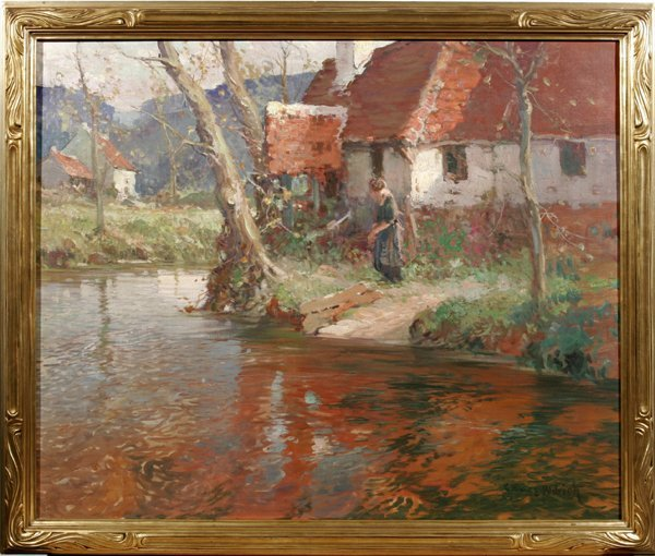 082011: GEORGE AMES ALDRICH OIL ON CANVAS, RIVER
