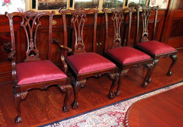 082013: CHIPPENDALE STYLE MAHOGANY ARM & SIDE CHAIRS