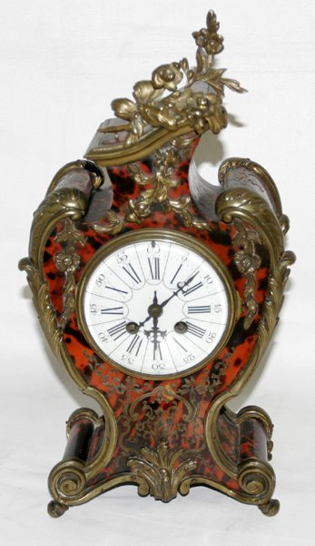 """082022: FRENCH BOULLE BRACKET CLOCK, H 16"""", W 8"""""""