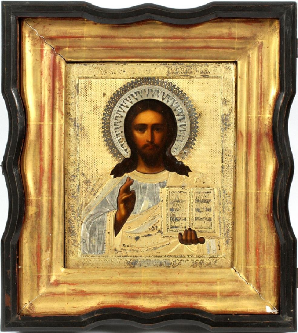 RUSSIAN ICON OF CHRIST PANTOCRATOR SILVER OKLAD
