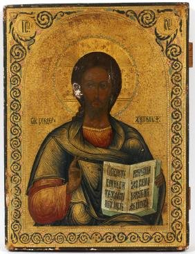 RUSSIAN PAINTED ICON OF CHRIST PANTOCRATOR