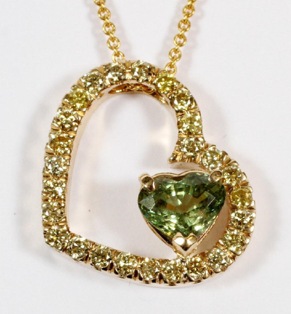 1.17CT GREEN DEMANTOID AND FANCY DIAMOND NECKLACE