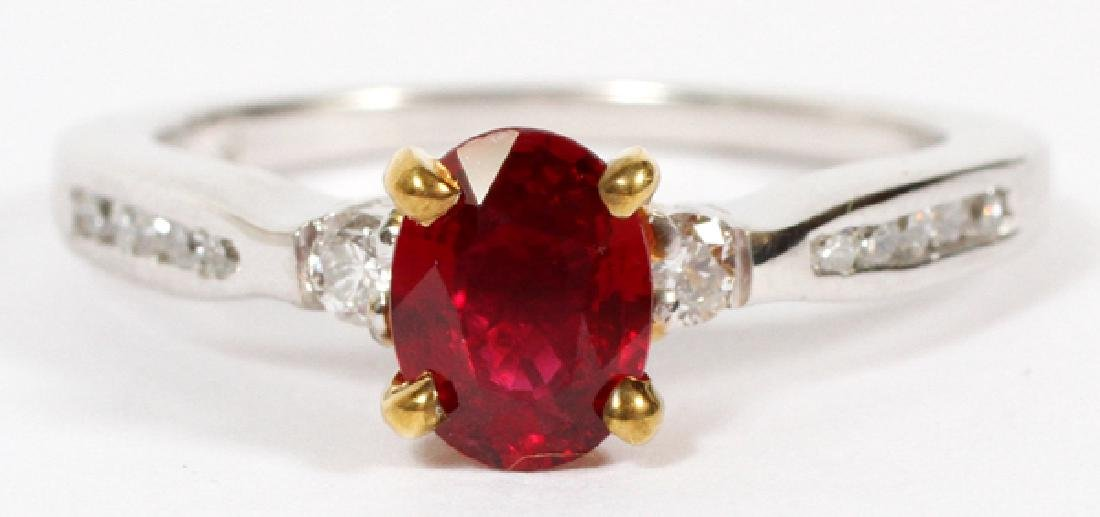 0.78CT RUBY AND 0.20CT DIAMOND RING