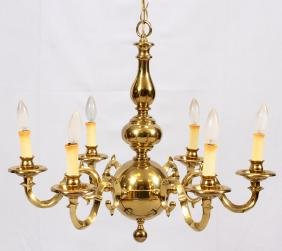152: VIRGINIA METALCRAFTERS BRASS SIX ARM CHANDELIER : Lot 0152:BRASS 6 LIGHT CHANDELIER,Lighting