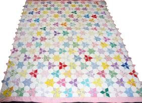 AMERICAN HAND SEWN PATCHWORK QUILT