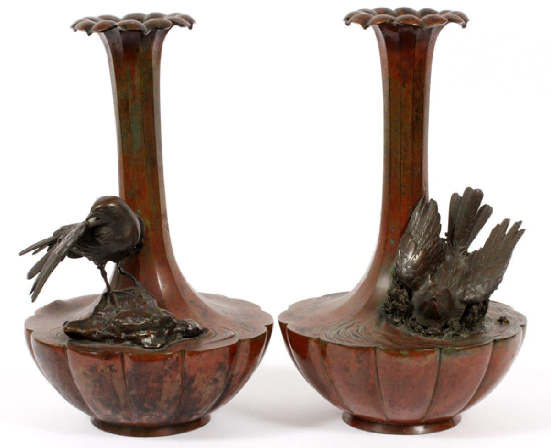 A PAIR OF JAPANESE BRONZE VASES 19TH.C.