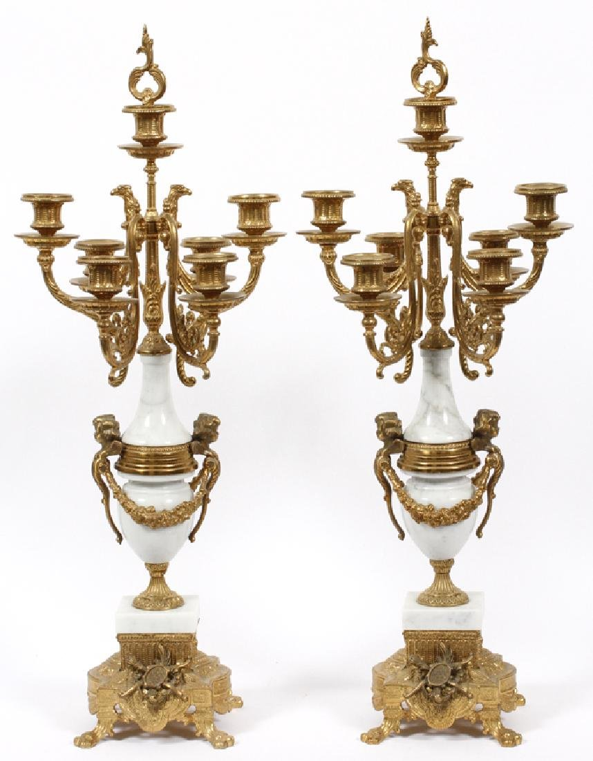 CONTINENTAL-STYLE GILT METAL AND MARBLE CANDELABRA