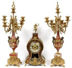 FRENCH STYLE ROUGE MARBLE &GILT METAL GARNITURE SET