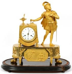 FRENCH GILT BRONZE FIGURAL MANTLE CLOCK