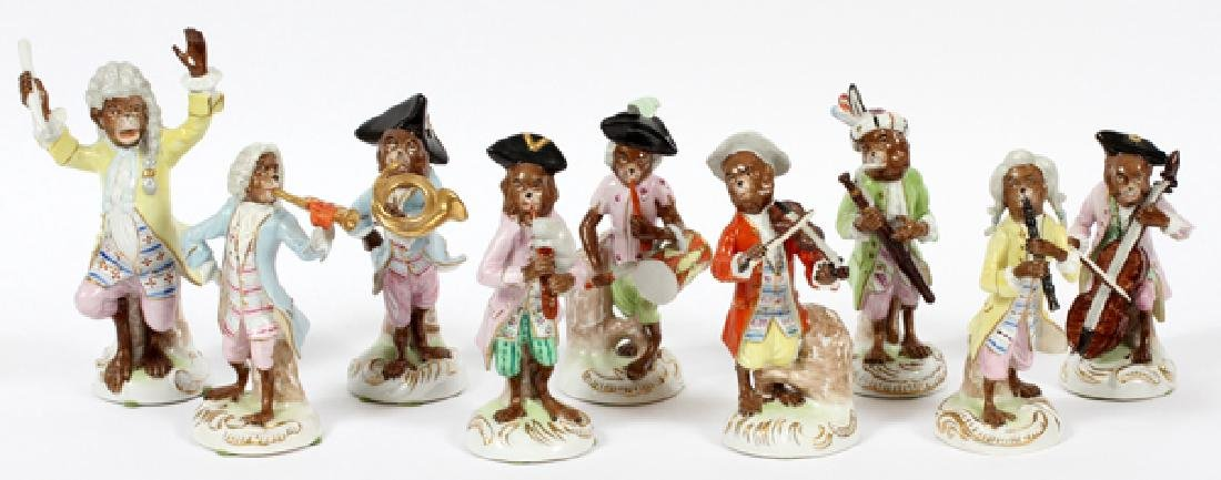 SCHEIBE-ALSBACH PAINTED PORCELAIN MONKEY ORCHESTRA