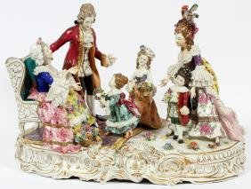 GERMAN PAINTED PORCELAIN FIGURAL GROUP