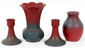 VAN BRIGGLE POTTERY VASES AND CANDLESTICKS
