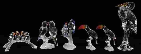 GROUP OF SIX SWAROVSKI CRYSTAL BIRD FIGURINES