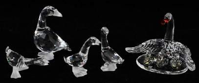 GROUP OF FIVE SWAROVSKI CRYSTAL BIRD FIGURINES