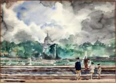 REGINALD MARSH WATERCOLOR SACRE COEUR-PARIS FRANCE'