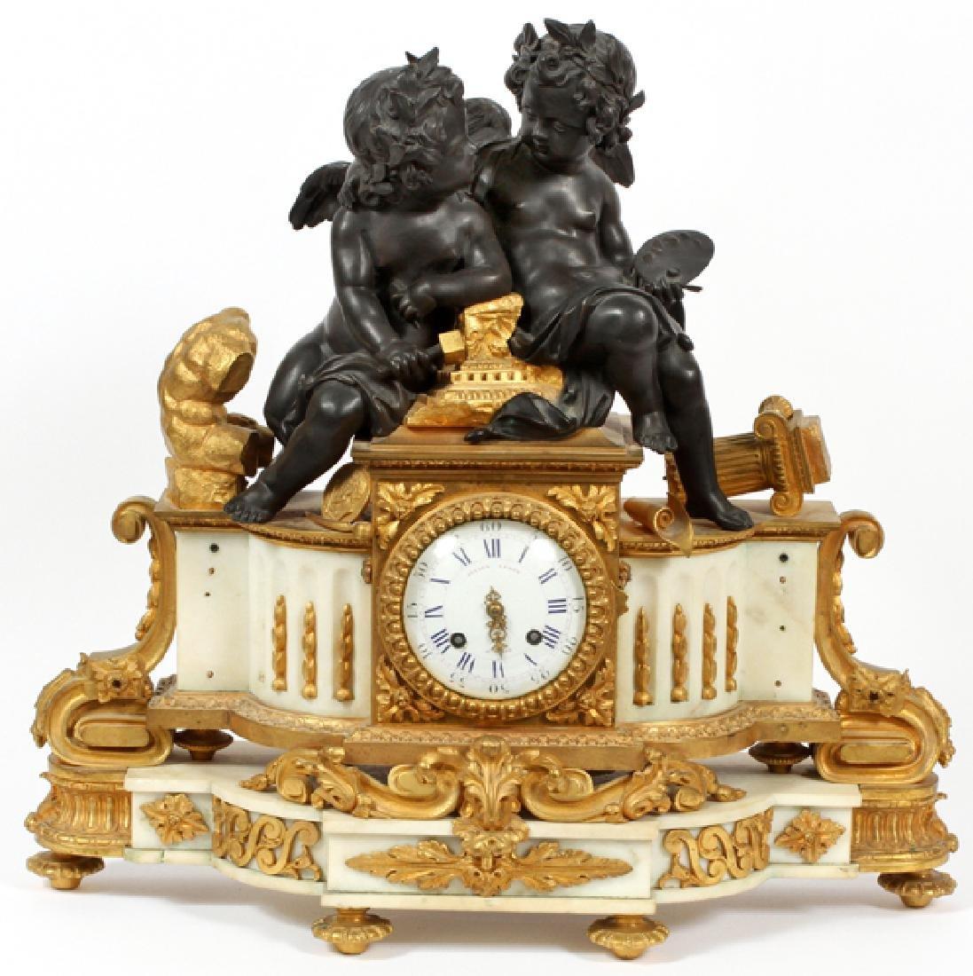 JULIEN LE ROY A PARIS FRENCH BRONZE FIGURAL CLOCK