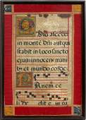 AN ILLUMINATED ANTIPHONAL LEAF ON VELLUM