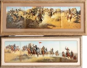 TWO FRANK MCCARTHY OFFSET LITHOGRAPH TRIPTYCHS
