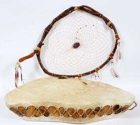 NATIVE AMERICAN DREAM CATCHER AND DRUM 2 PIECES